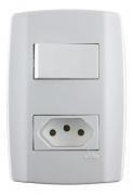 Conjunto 4x2 Tomada 10a + Interruptor Intermediario Slim Ilu
