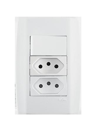 1 Interruptor Simples 10A 250V + 2 Tomadas 10A - 80203