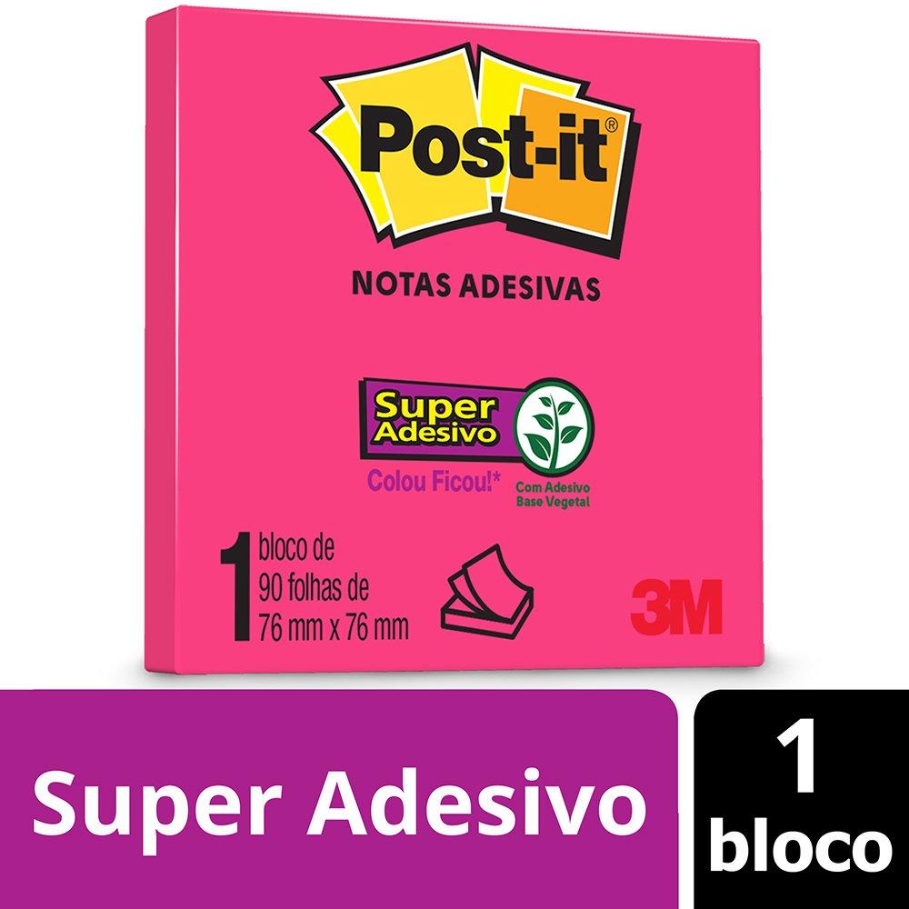 Bloco Post-it 657 76x76 Rosa Neon 3m