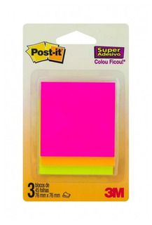 Bloco Post-it 76x76 45 Folhas Sortido Cascata 3m