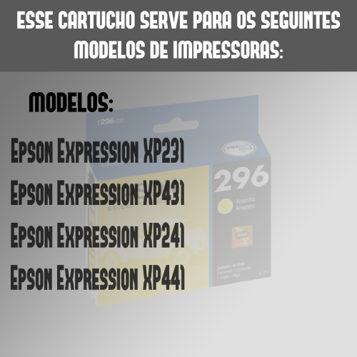 Cartucho 296 T296120 2964 Amarelo Xp231 Xp241 Xp431 Xp441