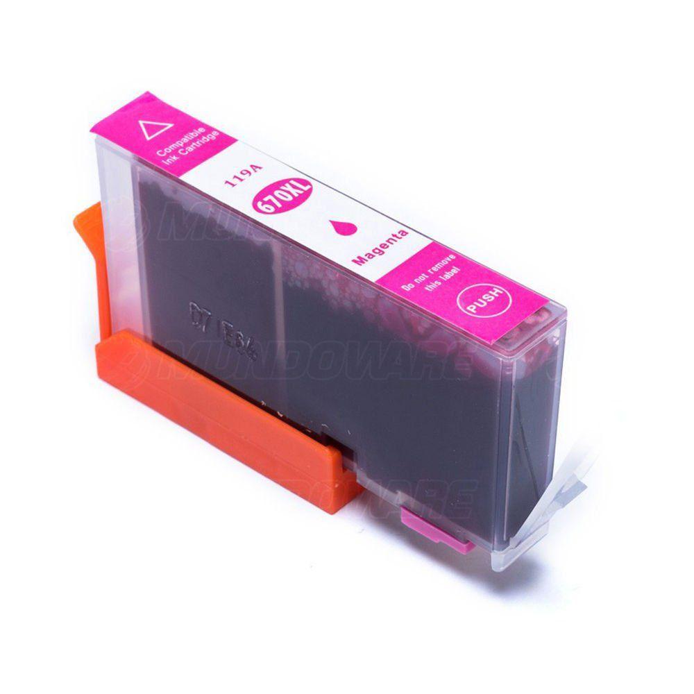Cartucho Compatível com Hp 670XL Magenta Deskjet 4615 5525 4625