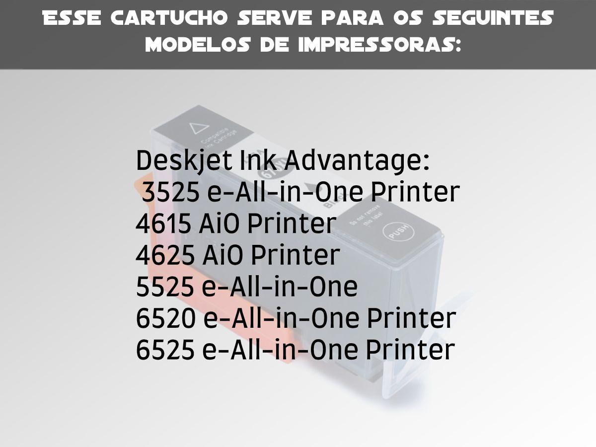 Cartucho Compatível com Hp 670XL Preto Deskjet 4615 5525 4625