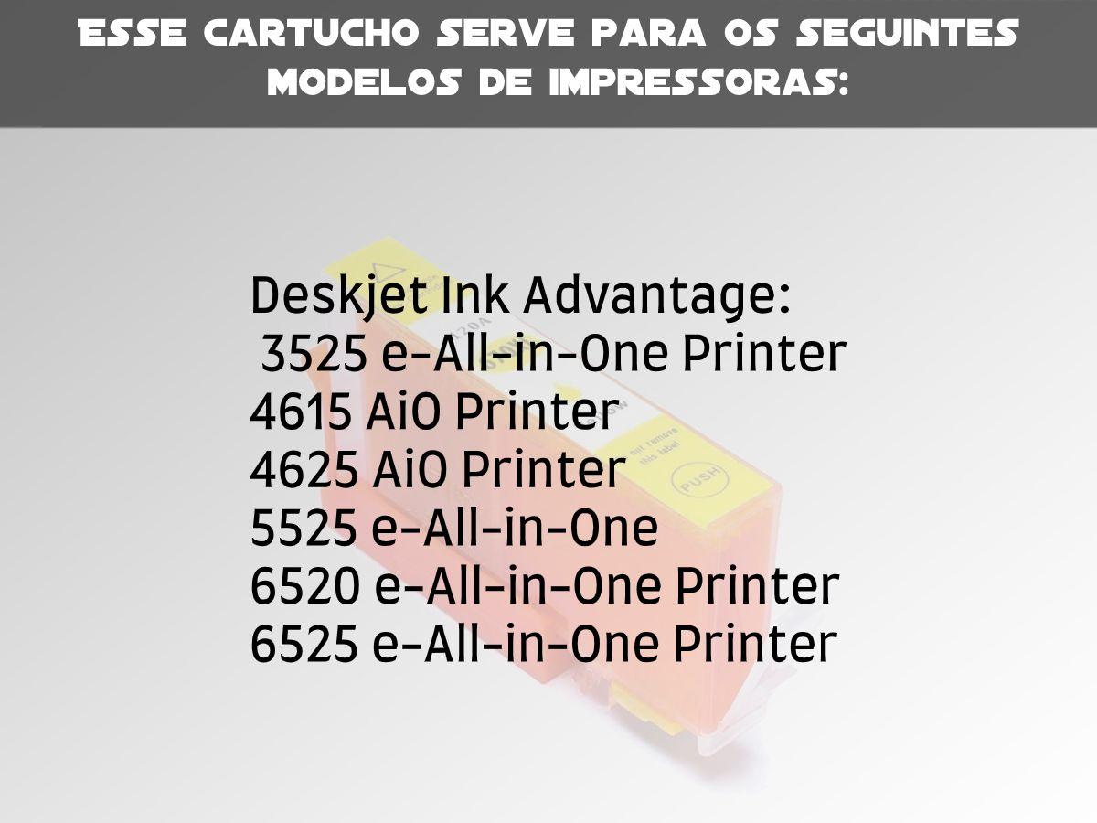 Cartucho Compatível com HP 670XL Yellow P/ Deskjet 4615 5525 4625