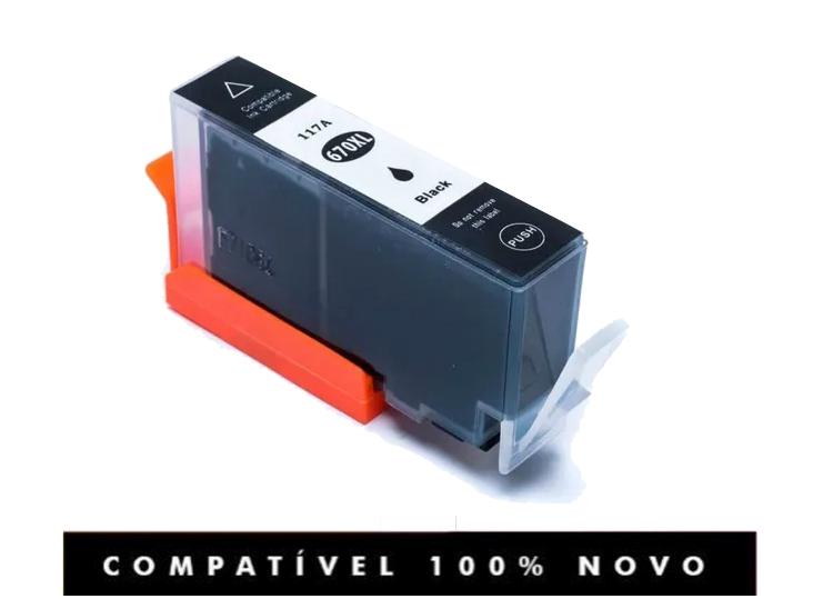 Cartucho Compatível Hp 670XL 670 Preto Deskjet 4615 5525