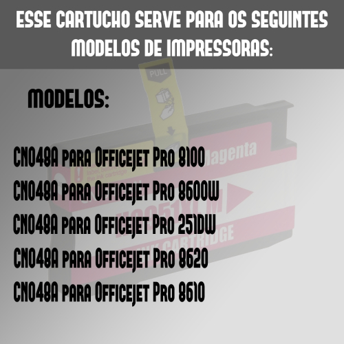 Cartucho Compatível Hp 951xl 951 Magenta 8100 8600 8620