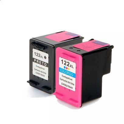 Combo Cartucho HP 122 Preto e 122 Color + Kit Tinta Recarga Cartucho HP