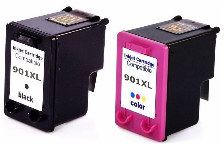 Combo Cartucho HP 901 Preto e 901 Color + Kit Tinta Recarga Cartucho HP