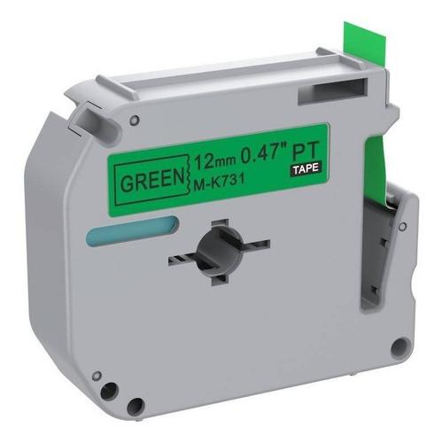 Fita Rotulador para Brother M-K731 12mm Black/Green