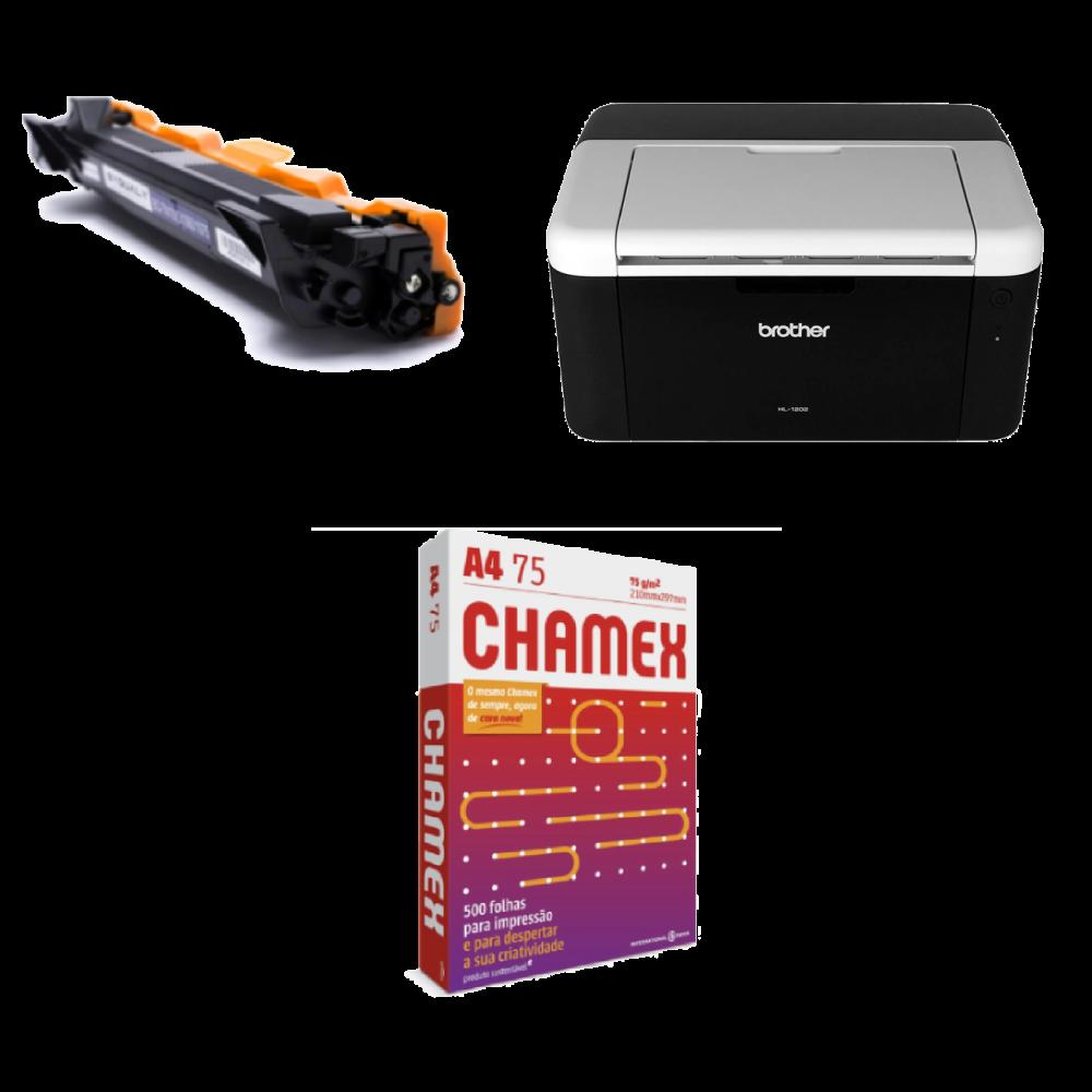 Impressora 1202  +  1 Pacote de Chamex 500 Folhas + 1 Toner reserva TN1060