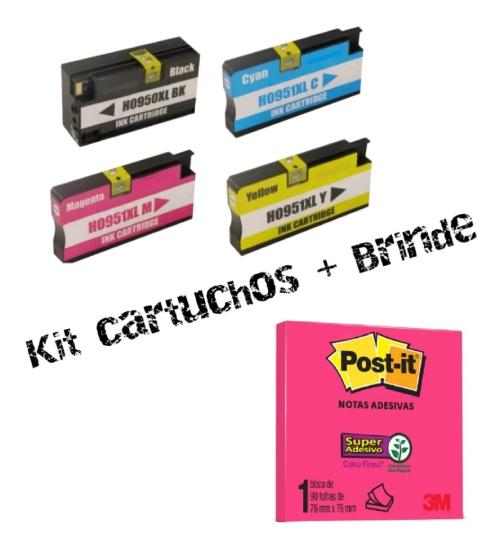 Kit 4 Cartuchos 950xl 951xl Pro 8100 8600 + Brinde