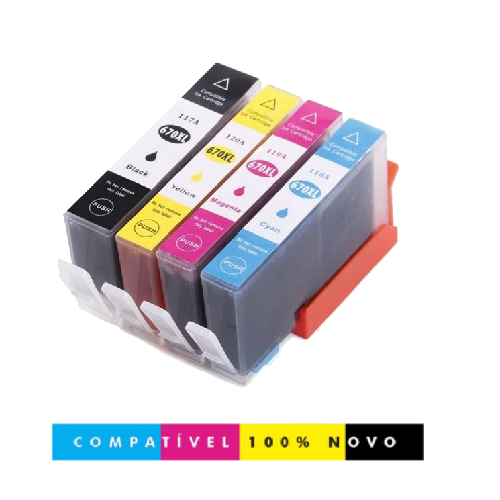 Kit 4 Cartuchos Compatíveis 670xl 670 Deskjet 4615 4625 5525