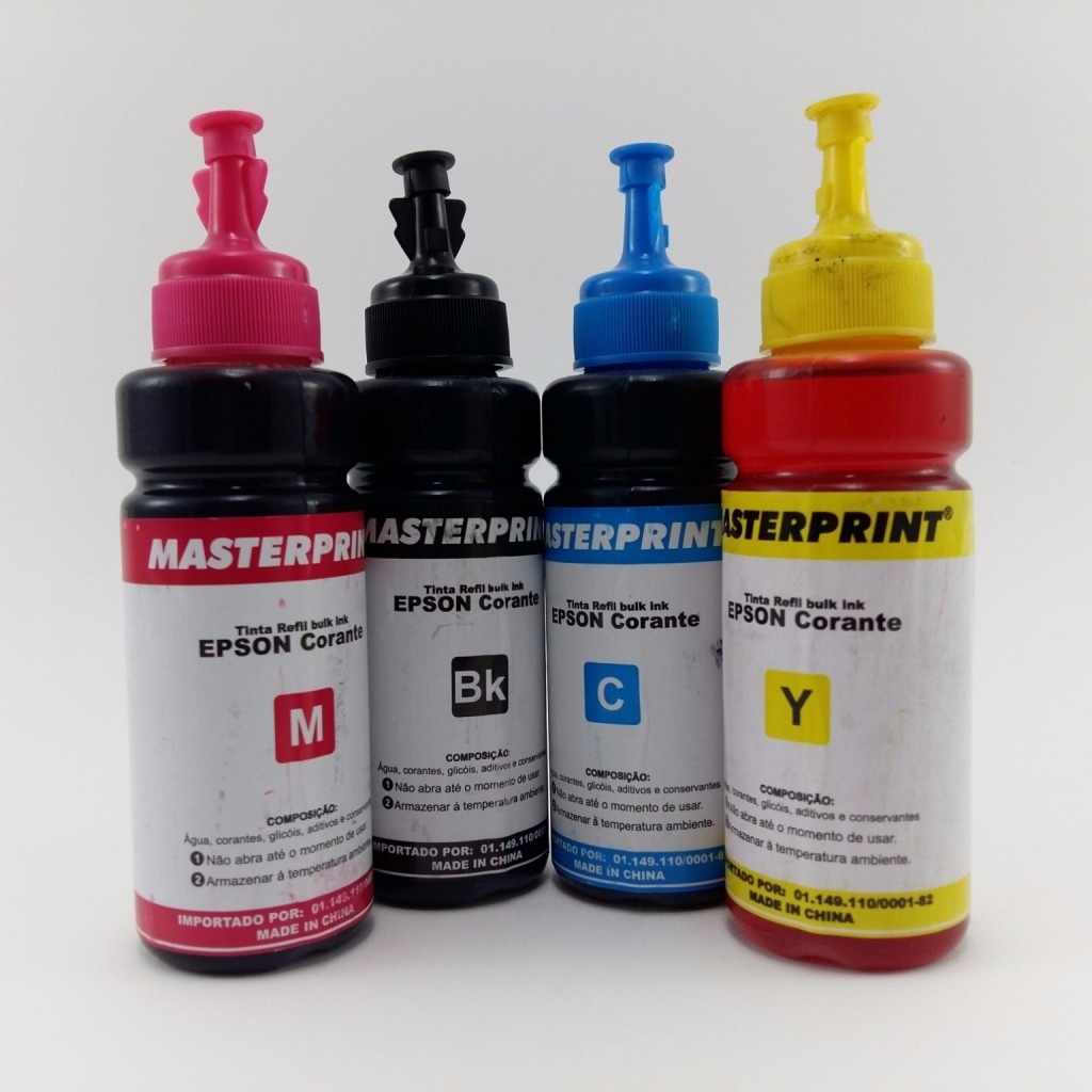 Kit 4 Tinta Refil Para Bulk Ink Tanque Tinta Epson L375 L395 L475 L355 100ml Corante Chinamate