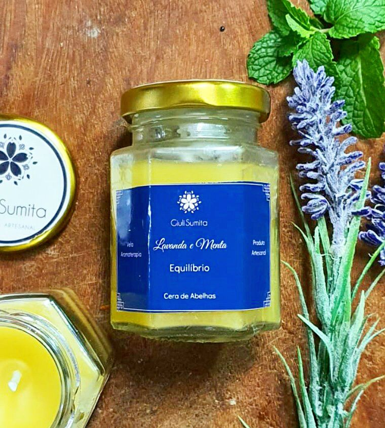 Lavanda e menta - Vela de aromaterapia biodegradável- 80g