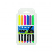 Caneta Brush Aquarelável Neon com 6 cores - CIS