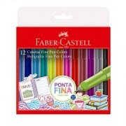 Caneta Fine Pen Estojo com 12 Cores - Faber-Castell