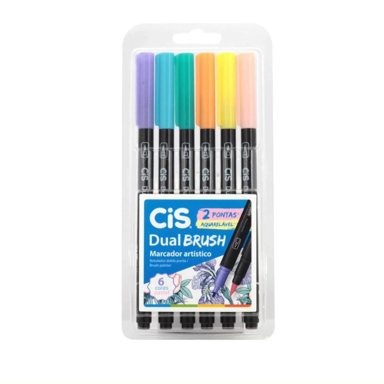 Caneta Dual Brush Pastel Estojo c/ 6 - CIS