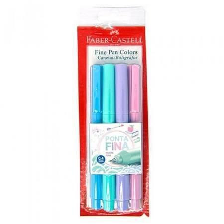 Caneta Fine Pen Pastel com 4 cores - Faber-Castell