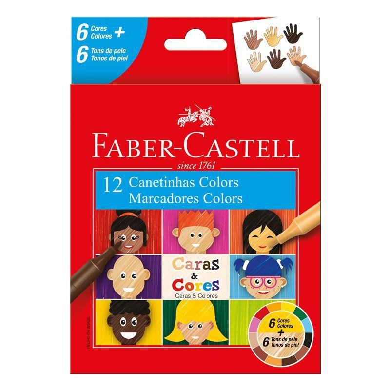 Caneta Hidrográfica Caras & Cores com 12 cores- Faber-Castell