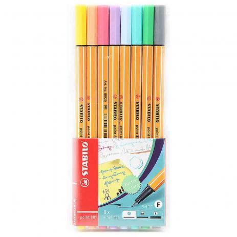 Caneta Point 88 Pastel com 8 cores - Stabilo