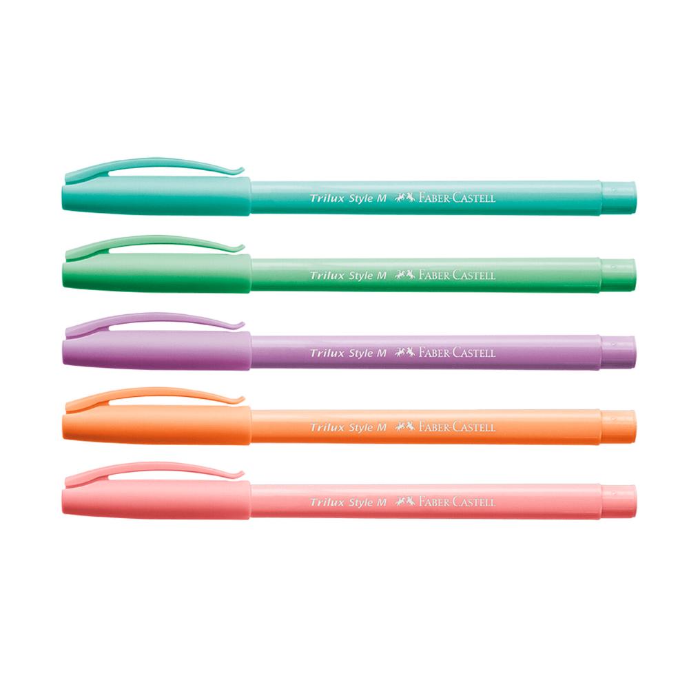 Caneta Trilux Pastel c/ 5 cores - Faber-Castell