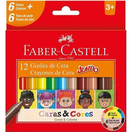 Giz de Cera Caras e Cores com 12 cores - Faber-Castell