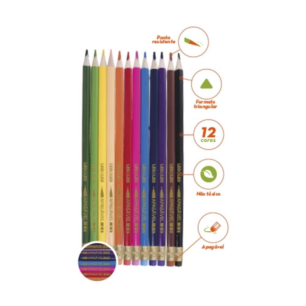 Lápis de Cor Apagável com 12 cores - Leo&Leo