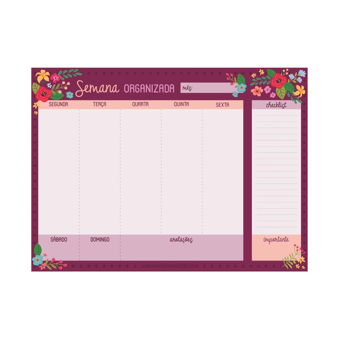 Planejador Semanal - Cartões Gigantes
