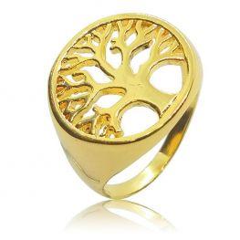 Anel Árvore da Vida Folheado a Ouro 18K