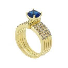 Anel Cinco Elos com Cristal Azul Folheado a Ouro 18K