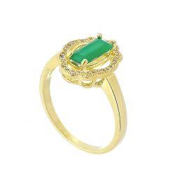 Anel com Cristal Verde e Zircônias Brancas Cravejadas Folheado a Ouro 18K