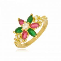Anel Flor em Zircônias Coloridas Folheado a Ouro 18K
