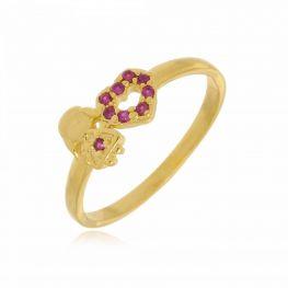 Anel Menina e Coração com Zircônias Rosa Folheado a Ouro 18K