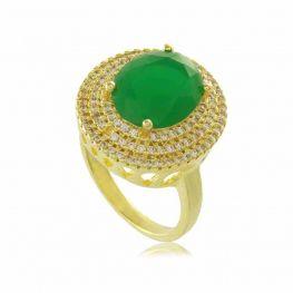 Anel Oval Verde com Mini Zircônias Cravejadas Folheado a Ouro 18K