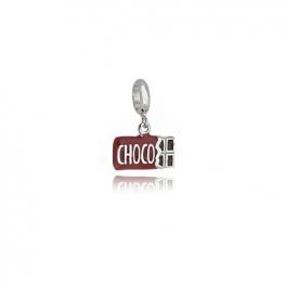 Berloque Chocolate Folheado em Ródio Branco