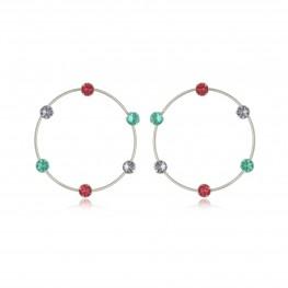 Brinco circular com zircônias coloridas folheado em ródio branco