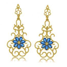 Brinco Provençal com Flor Central Azul Folheado a Ouro 18K