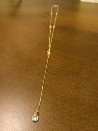 Colar Maxi Pêndulo com Cristais Brancos Folheado a Ouro 18K