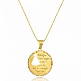 Colar Medalha com Oração Ave Maria Folheado a Ouro 18K