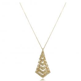 Colar Pirâmide em Zircônias Folheado a Ouro 18K