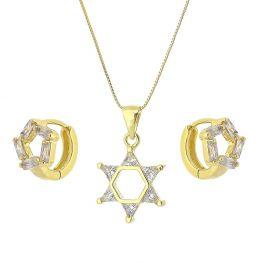 Conjunto Colar e Argola Estrela com Zircônias Brancas Folheado a Ouro 18K