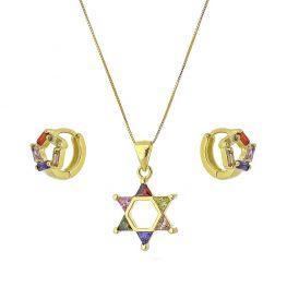 Conjunto Colar e Argola Estrela com Zircônias Coloridas Folheado a Ouro 18K