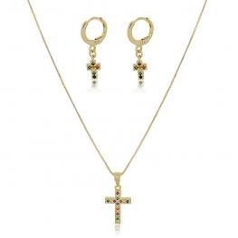 Conjunto colar e brinco crucifixo com pedras coloridas folheado a ouro 18K
