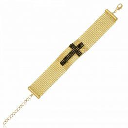 Pulseira em Malha com Crucifixo em Cristais Pretos Folheada a Ouro 18K