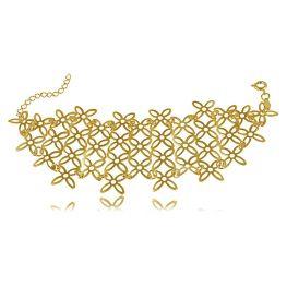 Pulseira Estilo Bracelete com Mini Flores Folheada a Ouro 18K
