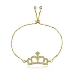 Pulseira Regulável Coroa com Zircônias Cravejadas Folheada a Ouro 18K