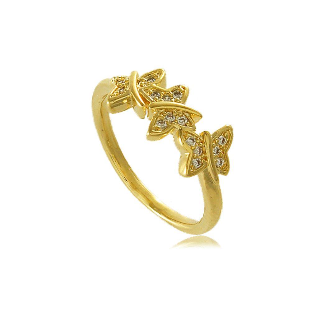 Anel Borboletas com Detalhes em Zircônias Folheado a Ouro 18K