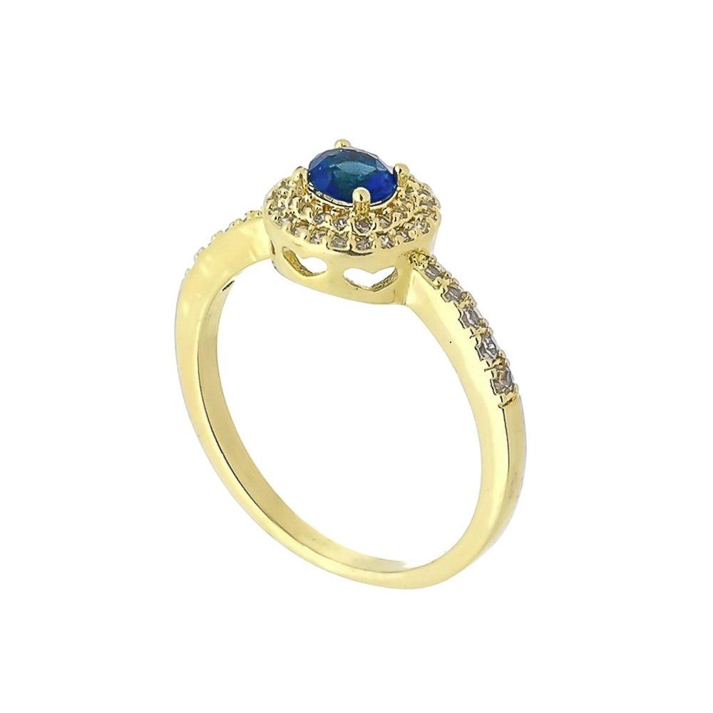 Anel com Cristal Azul Central e Mini Zircônias Folheado a Ouro 18K