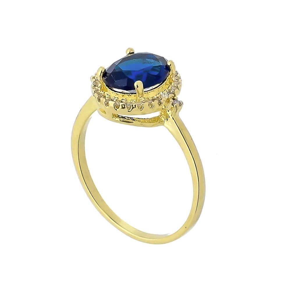 Anel com Cristal Azul e Mini Zircônias Folheado a Ouro 18K