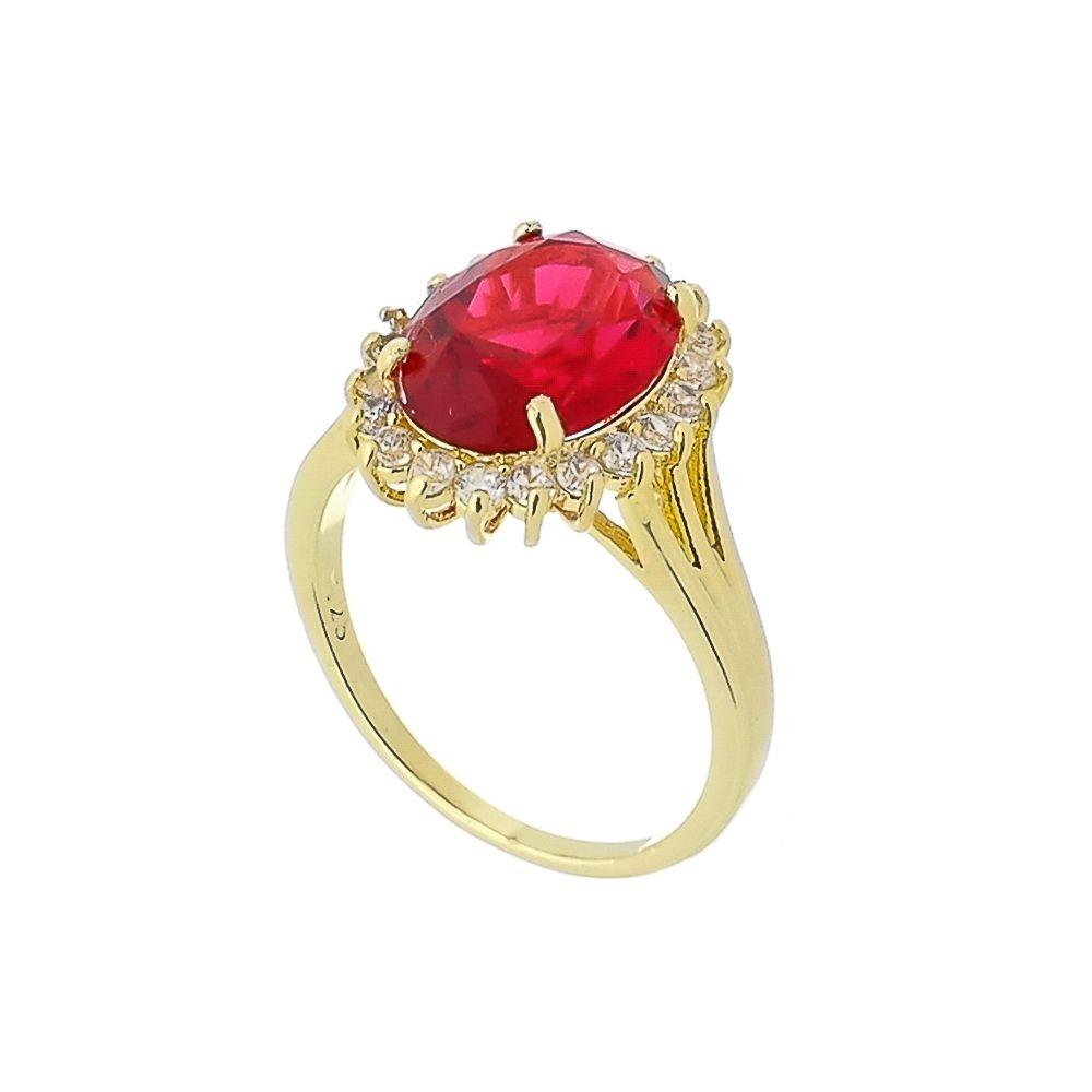 Anel com Cristal Vermelho e Mini Zircônias Cravejadas Folheado a Ouro 18K